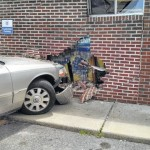 Single-car accident damages Woodlawn Post Office