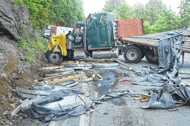 Tractor-trailer accident temporarily blocks Fancy Gap Mountain
